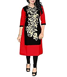 Trendistan Women's Cotton Straight Kurti(bb3L_Red_L)