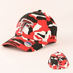 NFL Licensed Reebok Atlanta Falcons Flex Fit Red/white/black Camo Baseball Hat Cap Lid at Amazon.com