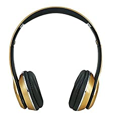Micomy Bluetooth Wired and Wireless overear headphone S-460 with Aux cable connector -Gold