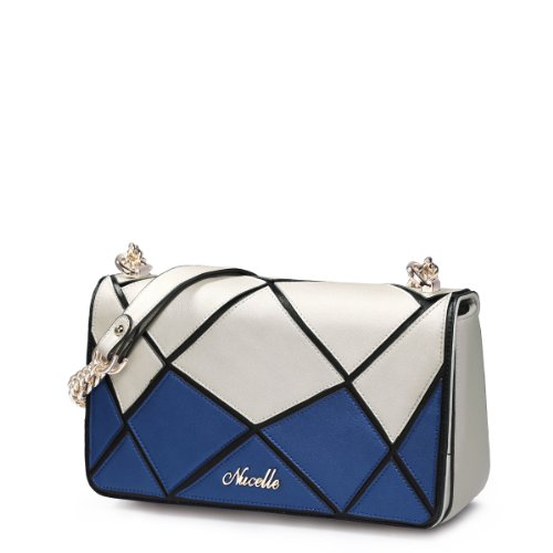 2014 New Arrival Nucelle Contrast Color Stitching Style Chain Shoulder Women'S Leather Evening Bag (White And Blue)