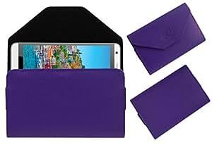Acm Premium Pouch Case For Intex Cloud M6 Flip Flap Cover Holder Purple