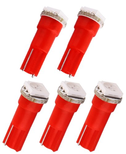 S&D 5Pcs T5 1 Smd Red Dashboard Wedge Led Interior Car Light Bulb Lamp