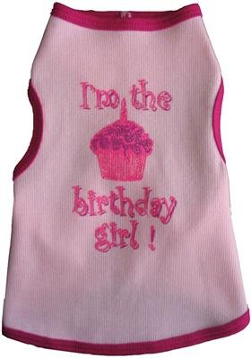 Dog T-Shirt - I'm The Birthday Girl - Pink, XL Tank