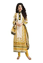Ishin Cotton White & Yellow Printed Unstitched Dress Material
