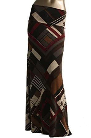 Azules Women's Stretchy Slinky Fabric Maxi Skirt (Small, C95-Brown)