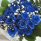 青いバラの花束 神秘的なブルーローズ プラチナの輝き 10本&カスミ草、グリーン付き バラの花束 (生花) お祝い記念日 誕生日 フラワーギフト バラ