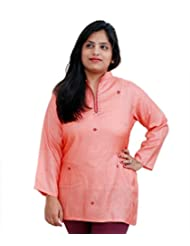 Viniyog Women Hand Woven Tussar Cotton-Silk Peach Kurti