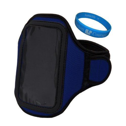 Blue Sumaclife Neoprene Hardcore Workout Armband For Samsung Galaxy S Blaze 4G (Samsung Sgh-T769) / Samsung Galaxy S Advance / Samsung Galaxy Pocket / Samsung Galaxy Mini 2 / Samsung Galaxy Beam / Samsung Galaxy Ace Plus (Samsung S7500) / Samsung Galaxy A