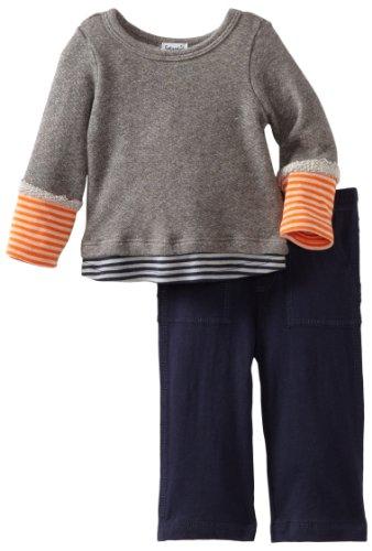 Save Price Splendid Littles Baby-boys Infant Colorblock Stripe Active Twofer Set, Navy/Carrot, 6-12 Months
