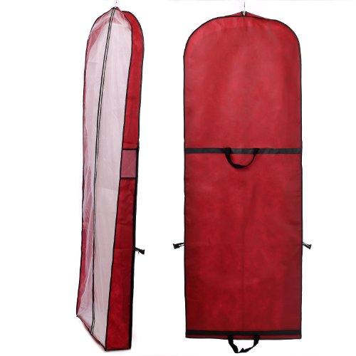 HIMRY® Sacca porta abiti traspirante, per vestiti da sposa / vestiti da sera / vestiti / giacche / cappotti , circa 149 cm, cerniera - Due Tasche per gli accessori - Due manici intrecciati per un maggiore comfort - Rosso Scuro, KXB107 Darkred