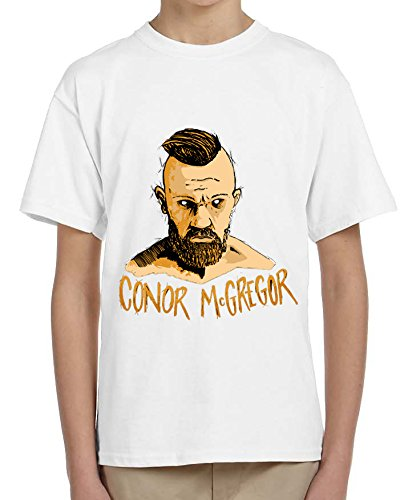 Conor McGregor Boxer Painting Design Orange Font Kids Bambini White T-shirt