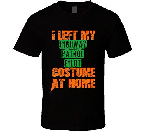 [Left Highway Patrol Pilot Halloween Costume At Home Funny Job T Shirt 2XL Black] (Highway Patrol Costume)