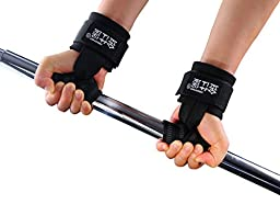 Nylon Rubber Padded Sports Wrist Support Band Power Weight Lifting Grip Wrist Straps Hand Bar Protector Wristband for Gym Exercise Training 1 Pair Black