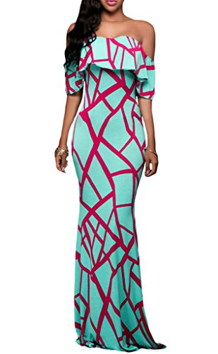 Prom Homecoming Floral Off Shoulder Bodycon Maxi Dress, Large Mint Green