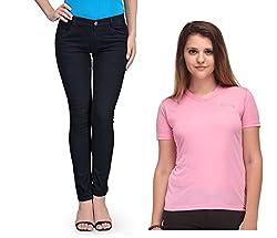 Oleva Women combo set of 2 (denim Black jeans and Pink T-Shirt )