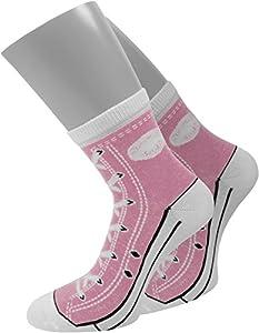 12 Paar Socken im chuck-Design mit vielen originalgetreuen Details Größe 35/38 Farbe Rosa
