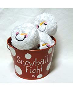 "Snowball Fight! 6 Plush Snowmen Balls and a Red Tin Labeled ""Snowball Fight"" - Indoor Play Ball Toy"