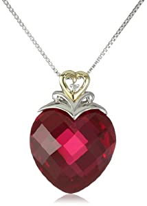 XPY Sterling Silver and 14k Yellow Gold Created Ruby Heart and Diamond Accent Pendant Necklace, 18