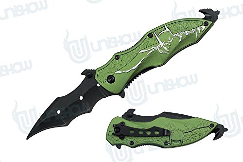 Unishow 8 Inch Assisted Open Folding Pocket Knife Hunting Camping Tactical Batman Design Handle Dark Knight Glass Breaker (Green /silver)