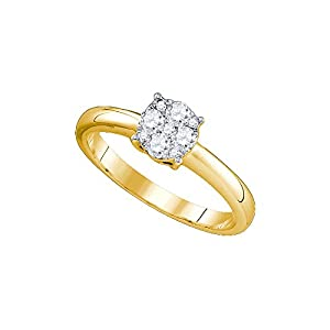 18kt Yellow Gold Womens Round Natural Diamond Cluster Bridal Wedding Engagement Ring (1.00 cttw.)