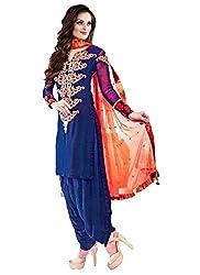 RAMAPIR CRATION BLUE ORANGE DRESS MATERIAL