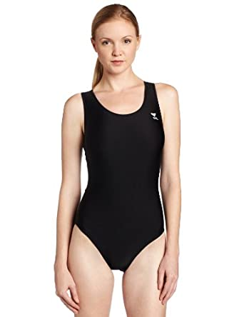 TYR Sport Women's Solid Maxback Swim Suit (Black, 30)
