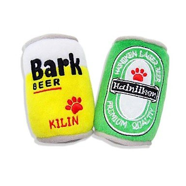 ViCreate Cool Ultra Soft Plush Beer Can with Squeaker for Pet Dogs and Cats , Yellow