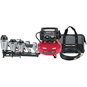 Factory-Reconditioned Porter Cable 3PAKR Finish Nailer/Brad Nailer/Stapler Compressor Combo