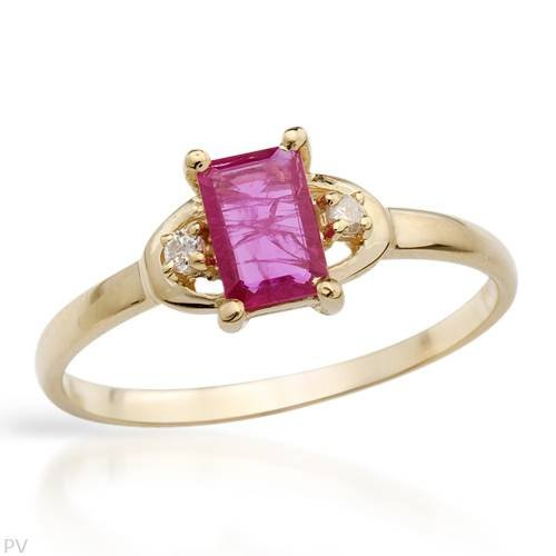 Ring With 0.54ctw Precious Stones - Genuine Clean Diamonds and Ruby Made in Yellow Gold (Size 7)