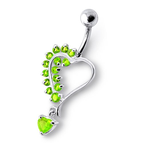 Light Green Dangling Heart Jeweled Sterling Silver With 14G-3/8 Inch (1.6X10Mm) 316L Surgical Steel Banana Belly Ring Body Jewelry