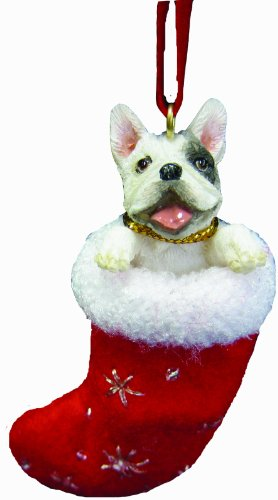 French Bull Dog Xmas Tree Stocking Ornament with