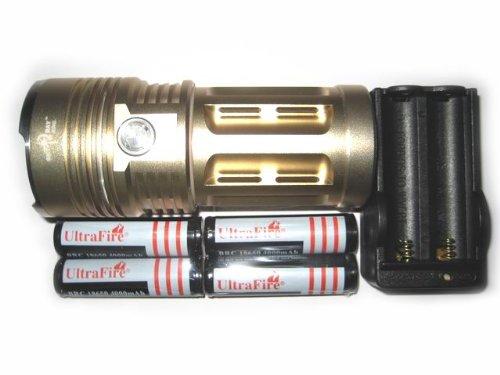 New Sky Ray Super Bright 3800 Lumens 3X Cree Xm-L T6 Led Flashlight Torch 18650 +4Pcs 4000Mah Battery+Charger