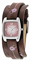 Fossil JR9512 Stailess Steel Ladies Brown Leather Pink Detailed Cuff Watch