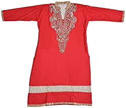 Apsara Women's Synthetic Regular Fit Kurta (Red, XXL)