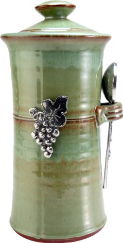 Crosby & Taylor Vineyard Stoneware Coffee Canister, Pistachio Glaze (Stores In Eugene Or)