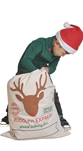 HUAN XUN Sika Deer Santa Sack with Drawstring Christmas Presents