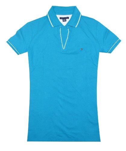 Tommy Hilfiger Women Fashion Mesh V-neck Logo Polo T-shirt