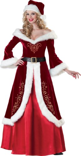 InCharacter Costumes Women's Mrs Claus Costume, Flocked Velvet Dress