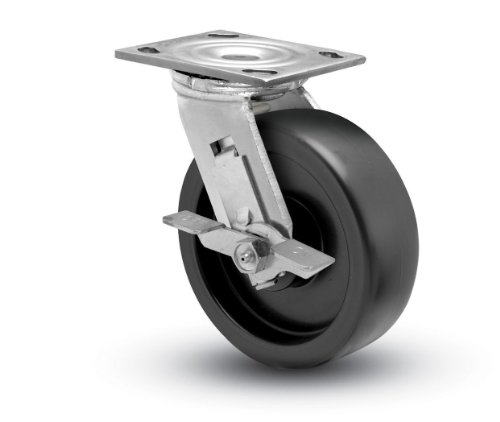 "Shepherd Prism Series 5"" Diameter Polyolefin Wheel Swivel Caster With Tread Brake, 4-1/2"" Length X 4"" Width Plate, 550 Lbs Capacity, Trivalent Zinc Finish"