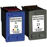 2 Compatibles HP 21XL NEGRO & HP 22XL COLOR Cartuchos de tinta para Deskjet F2110, F2120, F2128, F2140, F2180, F2185, F2187, F2188, F2200, F2210, F2212, F2214, F2224, F2250, F2275, F2280, F2290, F300, F310, F325, F335, F340, F350, F370, F375, F380, F390, F394, F4135, F4140, F4180, D1320, D1330, D1341, D1360, D1420, D1430, D1445, D1455, D1520, D1530, D1560, D1568, D2320, D2330, D2345, D2360, D2368, D2400, D2430, D2445, D2460, D1560, D2330, D2360 | Alta Capacidad