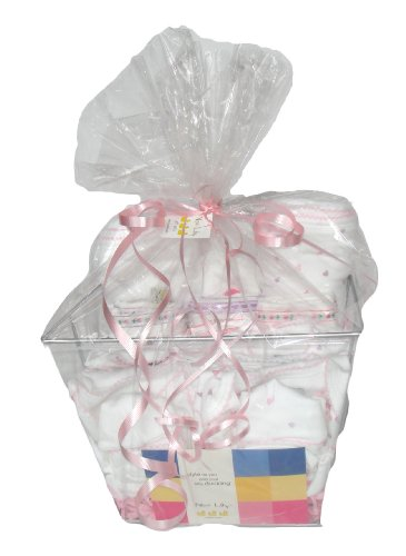 Noa Lily Extra Large Layette Gift Basket, Pink Hearts, 6 Months