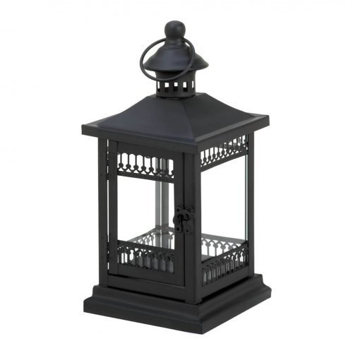 F.A. Decors Art Deco Victorian Style Black Metal Candle Lantern