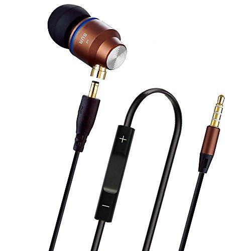 AIKAQI 密閉型 カナル イヤホン 着脱式 金属製 3.5mmステレオミニプラグ マイク 付き 高遮音性 2本ケーブル付き iPhone/samsung/sony/PC/ ウォークマン用 ヘッドフォン S530 コーヒー