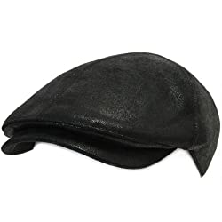 ililily New Men¡¯s Flat Cap Vintage Cabbie Hat Gatsby Ivy Caps Irish Hunting Hats Newsboy with Stretch fit - 001-2, Black, One Size