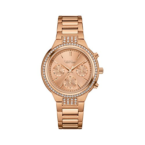 Caravelle New York by Bulova 44L180 Women's Rose Gold Dial Rose Gold Steel Chronograph Crystal Watch