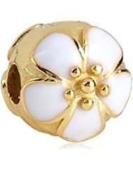 White Cherry Blossom Gold Plated 925 Sterling Silver Clip Bead For European Compatible Brand Bracelet
