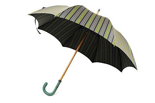 Maglia Francesco マリアフランチェスコ (5892 121 NAVY/GREEN ネイビー/グリーン  /  5 NAVY/YELLOW ネイビー/イエロー)長傘 ストライプ 型押しレザー 天然木材 レザーハンドル (ネイビー/グリーン)