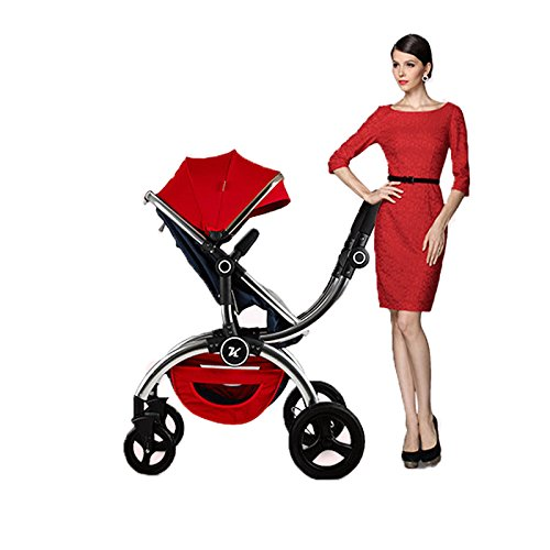2016-Popular-Noble-High-View-Folding-Bidirectional-Multi-suspension-Modal-Fabric-Baby-Carriage-Baby-Strollers-Baby-Pram-Baby-Buggy-Children-Trolley-red