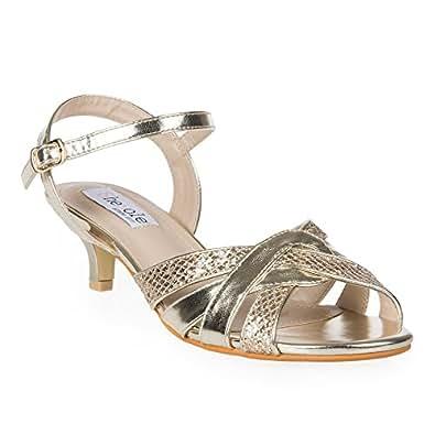 Shesole women 39 s metallic low heels comfortable for Comfortable wedding dress shoes