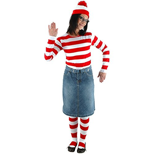 [GSG Where's Wenda Costume Adult Funny Where's Waldo Halloween Fancy Dress] (Wheres Waldo Girl Halloween Costume)